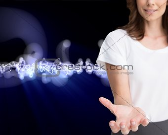 Businesswoman presenting her empty hand