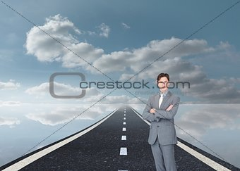 Assertive businessman standing on street