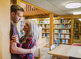 Young romantic couple with bookshelf at distance in library