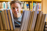 Close up portrait of a male student in the library
