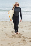 Smiling woman in wet suit holding surfboard at beach