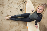 Overhead portrait of blond in wet suit with surfboard at beach