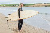 Beautiful woman in wet suit holding surfboard at the beach