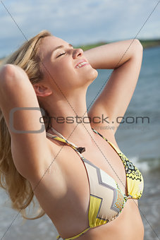 Smiling beautiful young bikini woman at beach