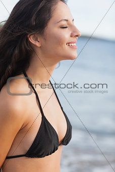 Side view of a cute woman with eyes closed at beach