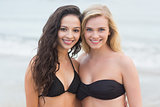 Smiling young bikini women at the beach