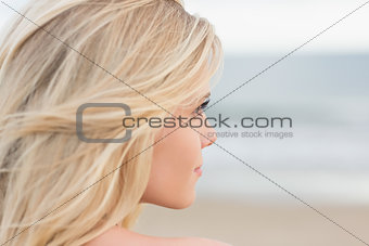 Close up of a relaxed young blond at beach