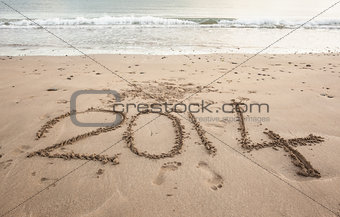 2014 on sand at beach