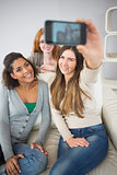 Happy friends photographing themselves with smartphone