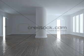 Bright room with wooden floor