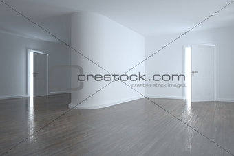 Bright room with white walls