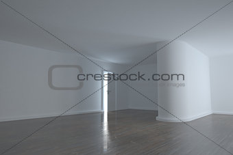 Bright room with a half opened door