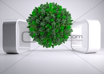 Green natural ball floating