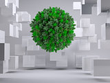 Green natural ball floating between cubes