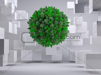 Green natural ball floating between cubes