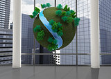 Earth floating in front of cityscape