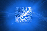 Barcode on blue background