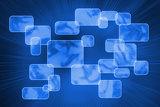 Futuristic blue screens