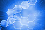 Shiny hexagons on blue background