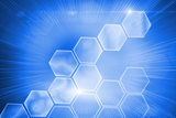 Glowing hexagons on blue background