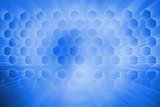 Hexagons on blue background