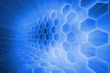 Futuristic hexagons on blue background