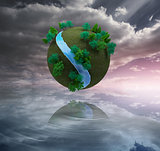 Futuristic earth floating in air