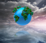 Digitally generated earth floating in air