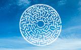 White round maze in sky