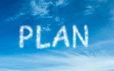Plan written in white in sky