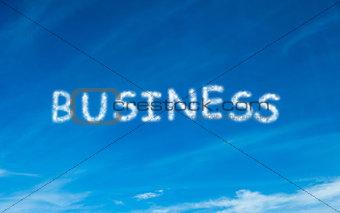 Business written in white in sky