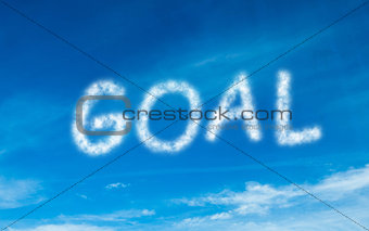 Goal written in white in sky