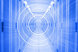 Futuristic interface in hallway