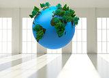 Digitally generated globe floating