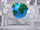Globe floating in room with cubes