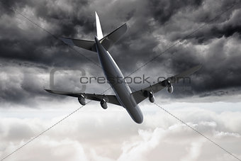 3D plane falling in the sky
