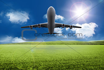 3D plane taking off over grassland