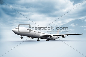 3D plane taking off white ground
