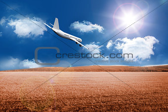3D plane flying over field