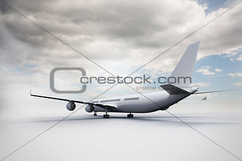 3D plane standing on white ground