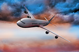 3D plane flying in colorful sky