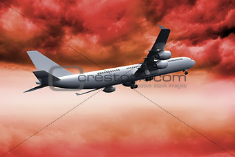 3D plane flying in red sky