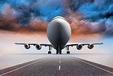 3D plane standing under colorful sky on runway