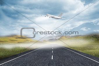 3D plane taking off over street