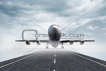 3D plane standing on runway