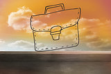 Bag drawn on orange sky