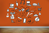 Drawn graphics on orange wall