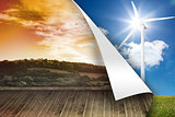 Sunny landscape on wall over turbine background
