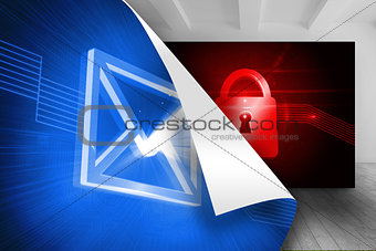 Blue background with envelope over picture of red lock