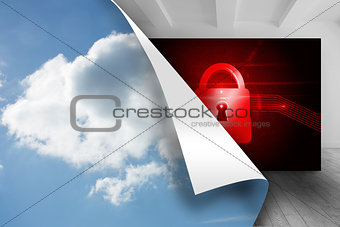 Sky background over picture of red lock